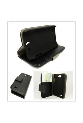 Microsonic Cüzdanlı Standlı Deri Kılıf - Samsung Galaxy W I8150 Siyah