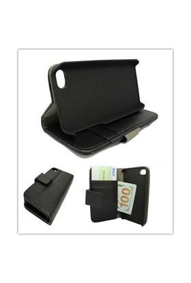 Microsonic Cüzdanlı Standlı Deri Kılıf - İphone 4S Siyah