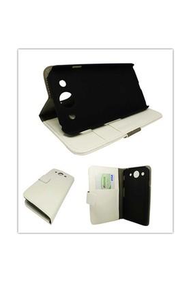Microsonic Cüzdanlı Standlı Deri Kılıf - Lg Optimus G Pro E980 E985 F240 Beyaz