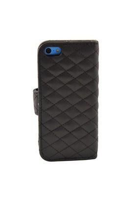 Vacca Apple İphone 5C Kapitone Yan Cüzdan Tip Kilif S-Line Siyah