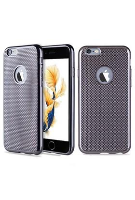Kılıfshop İphone 6S Plus Hasır Desenli Silikon Kılıf (Siyah)