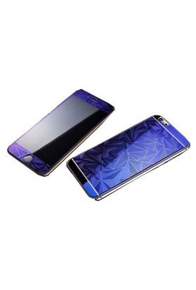Teleplus İphone 6 Plus Desenli Cam Ekran Koruyucu Cam Ekran Koruyucu Ön + Arka Mavi