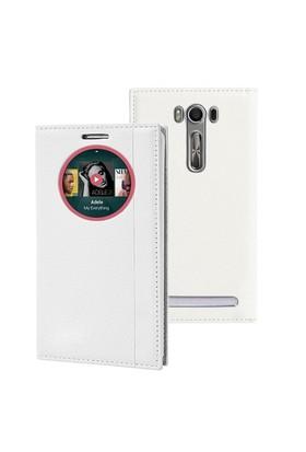 Microsonic Asus Zenfone 2 Laser 5.5'' Kılıf Gizli Mıknatıslı View Delux Akıllı Beyaz