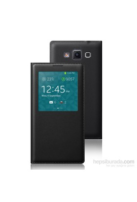 Microsonic Samsung Galaxy Grand Max Kılıf View Slim Kapaklı Deri Siyah