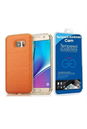 Teleplus Samsung Galaxy A5 2016 Derili Metal Kılıf Kapak Gold + Cam Ekran Koruyucu
