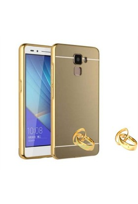 Teleplus Turk Telekom Honor 7 Aynalı Metal Kapak Kılıf Gold