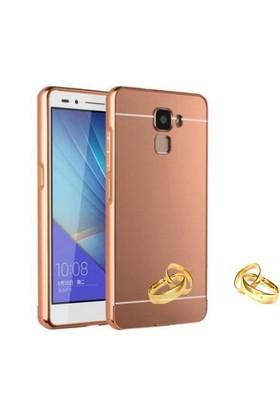 Teleplus Turk Telekom Honor 7 Aynalı Metal Kapak Kılıf Rose Gold