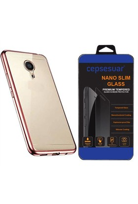Cepsesuar General Mobile Gm 5 Plus Kılıf Silikon Lazer Rose Gold + Cam