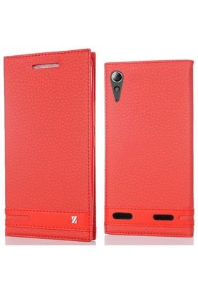 Coverzone Lenovo A6000 Kılıf Elite Kapaklı Deri Kırmızı
