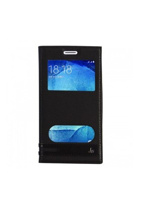 Lopard Samsung Galaxy J5 Kılıf Kapaklı Pencereli Ellite Case Deri Siyah