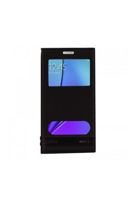 Lopard Samsung Galaxy Note 5 Kılıf Kapaklı Pencereli Ellite Case Deri Siyah