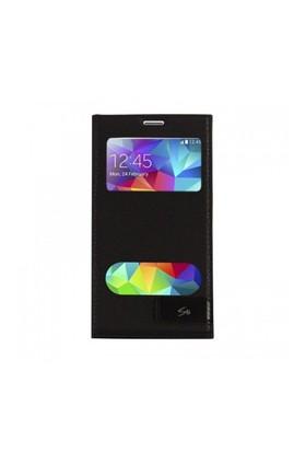 Lopard Samsung Galaxy S5 Kılıf Kapaklı Pencereli Ellite Case Deri Siyah
