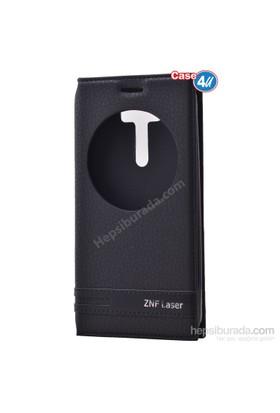 """Case 4U Asus Zenfone 2 Laser 5"""" Ze500kl Pencereli Kapaklı Kılıf Siyah"""
