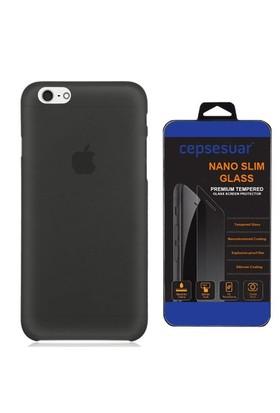 Cepsesuar Apple İphone 6 Kılıf Silikon 0.2 Mm Siyah + Cam