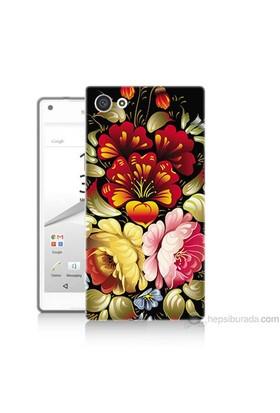 Teknomeg Sony Xperia Z5 Kılıf Kapak Çiçekler Baskılı Silikon