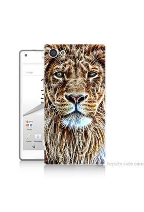 Teknomeg Sony Xperia Z5 Kapak Kılıf Aslan Yüzü Baskılı Silikon