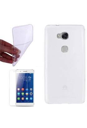Cep Market Huawei Gr5 Kılıf 0.2Mm Şeffaf Silikon + Cam