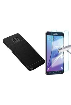 Kılıfshop Samsung Galaxy Note 5 Metal Kılıf Siyah + Ekran Koruyucu