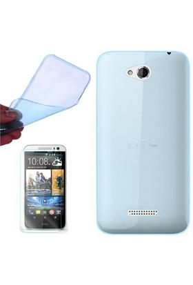 Gpack Htc Desire 616 Kılıf 0.2Mm Mavi Silikon - Cam