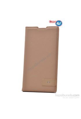 Case 4U Sony Xperia C3 Gizli Mıknatıslı Kapaklı Kılıf Altın