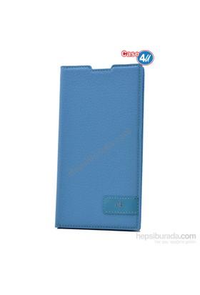 Case 4U Sony Xperia C3 Gizli Mıknatıslı Kapaklı Kılıf Mavi