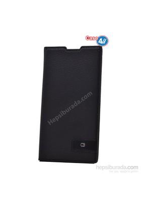 Case 4U Sony Xperia C3 Gizli Mıknatıslı Kapaklı Kılıf Siyah