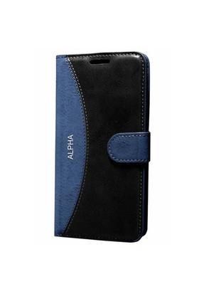 Cep Market Samsung Galaxy Alpha Kılıf Standlı Cüzdan (Lacivert)