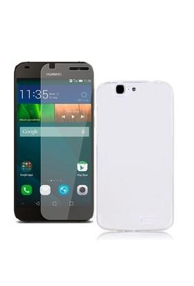 KılıfShop Huawei Ascend G7 Silikon Kılıf (Şeffaf) + Ekran Koruyucu