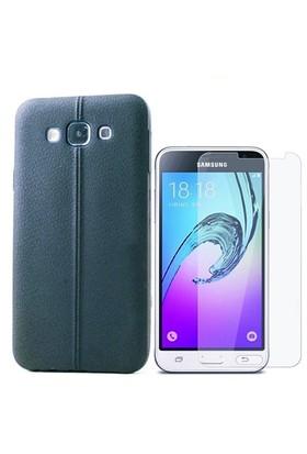 Kılıfshop Samsung Galaxy J3 Dikiş Desenli Silikon Kılıf (Siyah)