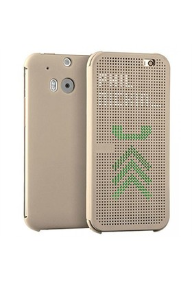 CaseCrown Htc M8 Dot View Kılıf Gold (Uyku Modlu)