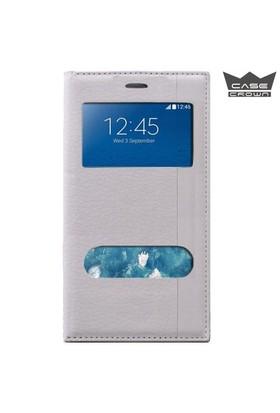 CaseCrown Samsung Galaxy Note 5 Gizli Mıknatıslı Çift Pencereli Magnum Kılıf Beyaz