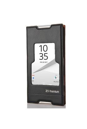 CoverZone Sony Xperia Z5 Premium Kılıf Pencereli Magnum Siyah