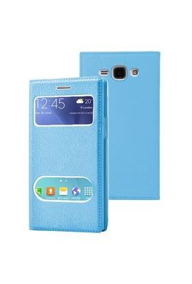 Microsonic Samsung Galaxy J1 Ace Kılıf Dual View Gizli Mıknatıslı Mavi