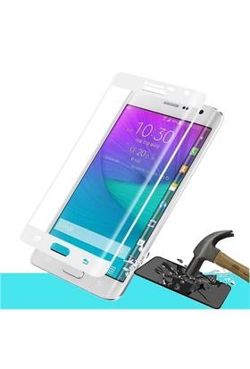 Microsonic Samsung Galaxy Note Edge 3D Kavisli Temperli Cam Ekran Koruyucu Film Beyaz