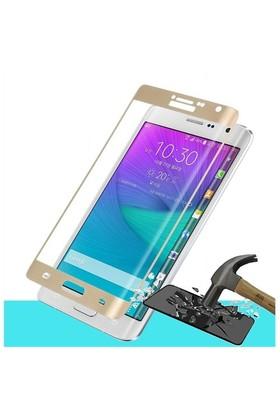 Microsonic Samsung Galaxy Note Edge 3D Kavisli Temperli Cam Ekran Koruyucu Film Gold