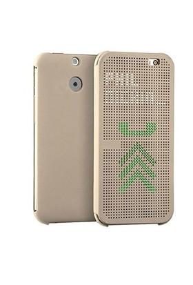 Case 4U Htc One E8 Dot Kapaklı Kılıf Altın