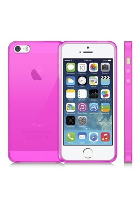 Case 4U Apple İphone 5 Ultra İnce Silikon Kılıf Pembe