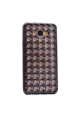 Case 4U Samsung A510 Galaxy A5 (2016) Kare Taşlı Parlak Silikon Kılıf Koyu Gri