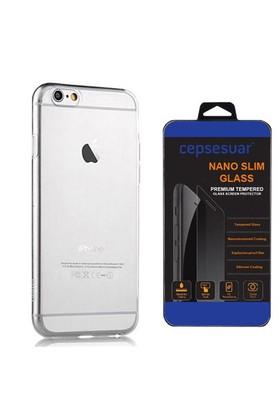 Cepsesuar Apple İphone 6S Kılıf Silikon 0.3 Mm Şeffaf + Cam