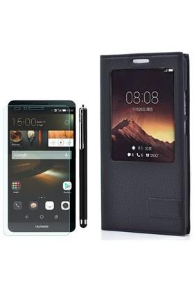 Gpack Huawei Ascend Mate 7 Kılıf Pencereli Deri Safir +Kalem+ Cam