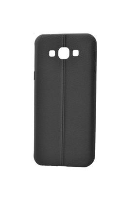 Lopard Samsung Galaxy E5 Kılıf Ribbon İnce Silikon Arka Kapak Siyah