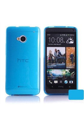 Microsonic Transparent Soft Htc One M7 Kılıf Mavi