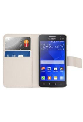 Microsonic Cüzdanlı Deri Samsung Galaxy Core 2 Kılıf Beyaz