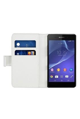 Microsonic Cüzdanlı Deri Sony Xperia C3 Kılıf Beyaz