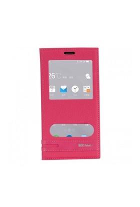 Lopard Meizu M2 Note Kılıf Kapaklı Pencereli Ellite Case Deri Pembe
