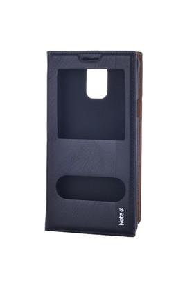 Cep Market Samsung Galaxy Note 4 Kılıf Pencereli Kapaklı Milano - Siyah