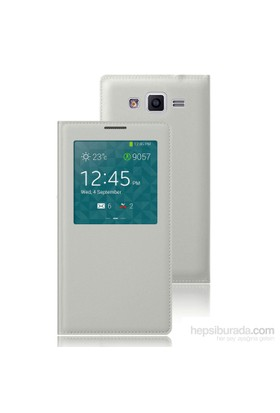 Case 4U Samsung Galaxy Core Prime G360 Pencereli Flip Cover Beyaz Kılıf