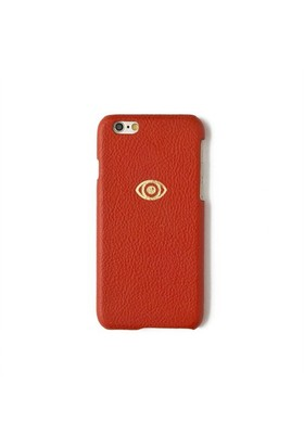 Sembol Baskılı Kırmızı Deri Telefon Kılıfı - İphone 6/6S