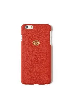 Sembol Baskılı Kırmızı Deri Telefon Kılıfı - İphone 6 Plus / 6S Plus