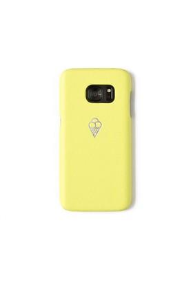 Sembol Baskılı Sarı Deri Telefon Kılıfı - Samsung Galaxy S7